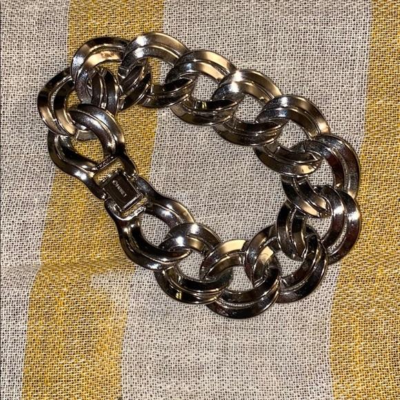 Vintage Monet Double Linked Silver Chain Bracelet